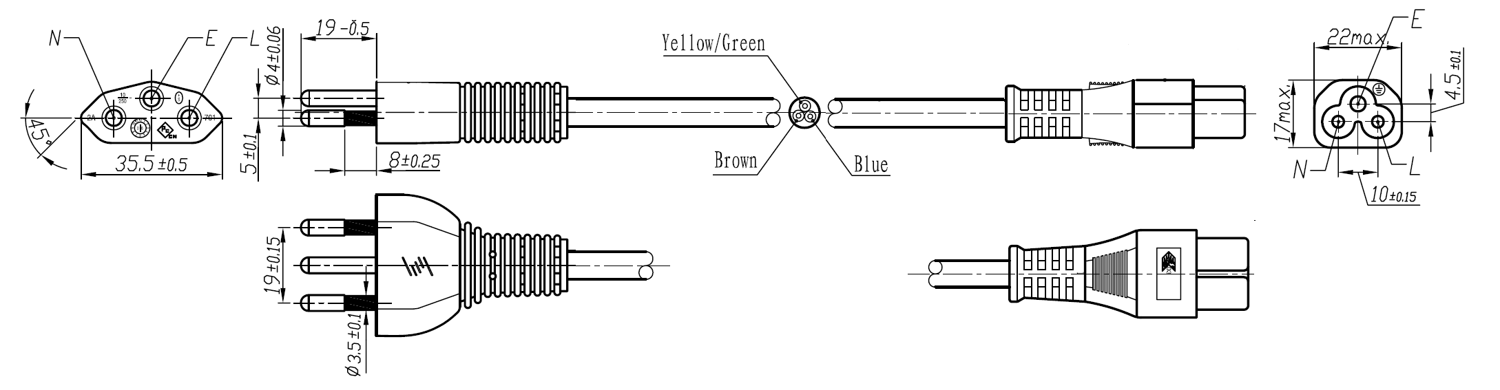 Switzerland Power Cords Mega Electronics Inc 3 Prong Cable Wiring Diagram The 210 C5 Is A Cord Used In With Plug H05vvf3g075mm To Iec 60320 Connector Rated At 25a 250v And Carries Sev