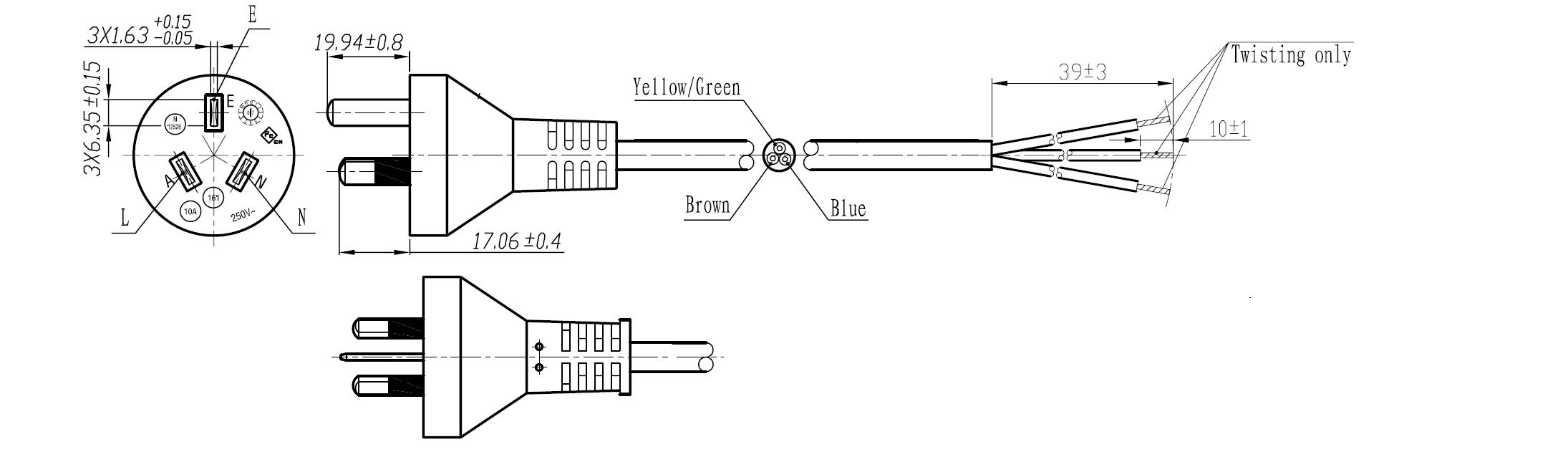 Australia Power Cords | MEGA ELECTRONICS, INC. on three pin plug, 10a 250v power cord, 10a 125v plug, 10a 250v fuse, power plug, 10a 250v adapter usa,